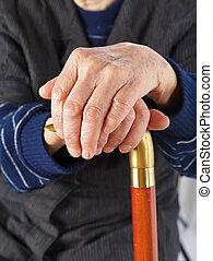 maradék, bot, öregedő, kézbesít
