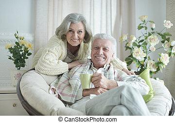 maradék, emberek, tea, két, öregedő, portré saját