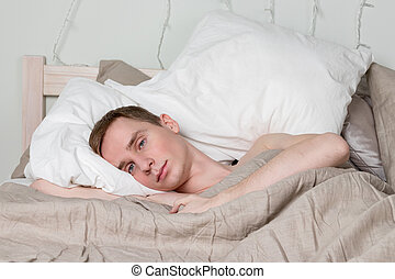 maradék, fiatal, bed., alvás, felnőtt, szexi, pasas, ember, jelentékeny