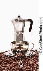 maradék, kávécserje csésze, bab, kávéfőző gép