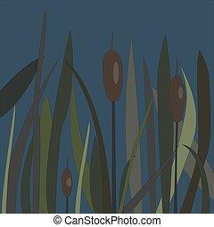 marais, buisson, roseau, lac