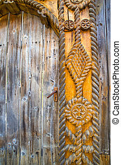 maramures, escultura, puerta, viejo, madera