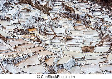 Maras salt mines peruvian Andes Cuzco Peru - Maras salt...