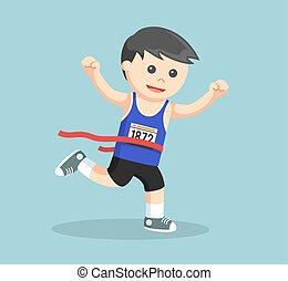 maratón, corredor, cruce, línea fin