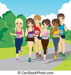 maratón, corriente, competición