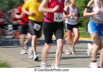 maratón, (in, cámara, movimiento, blur), corredores,...