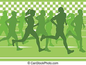 maratón, siluetas, vector, corriente, corredores