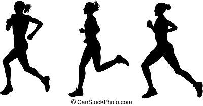 Marathon - Abstract vector illustration of marathon runners