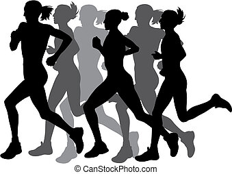 Abstract vector illustration of marathon runners