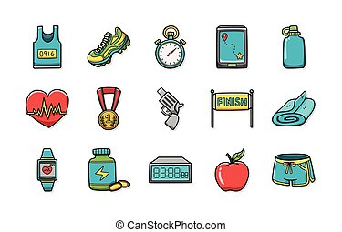 Marathon and running icons set, eps10