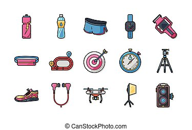 Marathon and running icons set,eps10