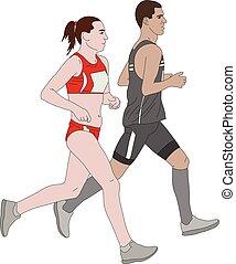 marathon, couple, coureurs, illustration