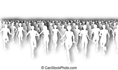 Marathon cutout - Illustration of a large group of people ...