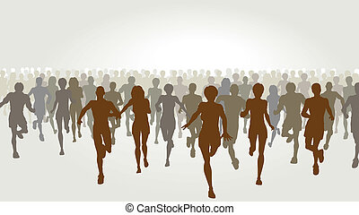 Marathon - Editable vector illustration of a large group of...
