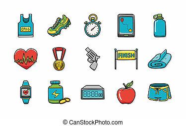 marathon, et, courant, icônes, ensemble