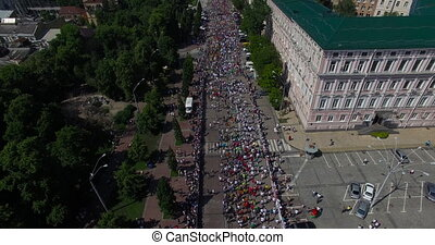 Marathon in the city aerial view