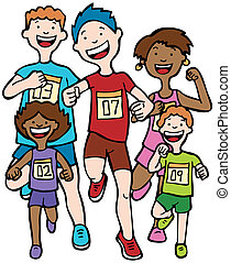 Children running together in a race wearing numbered badges.