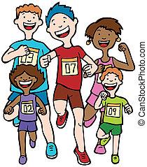 Marathon Kid Race - Children running together in a race...