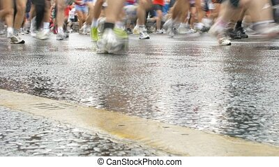 Marathon participants on city streets - MOSCOW - SEPTEMBER...