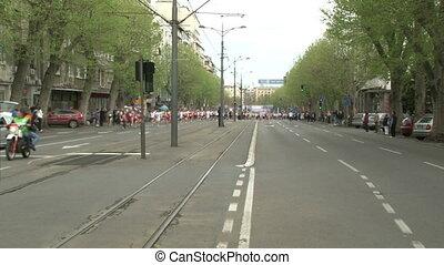Marathon, people, street