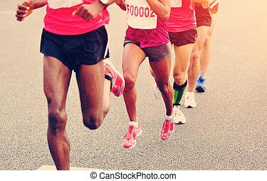 marathon, rennender , rennen