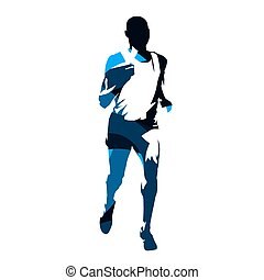 Marathon runner, abstract blue vector silhouette, front view. Running man