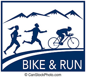 marathon runner cyclist race bike - illustration of a...
