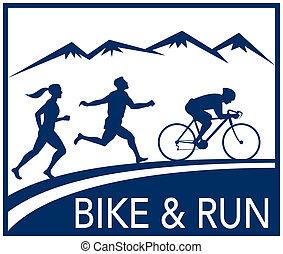 marathon runner cyclist  race bike