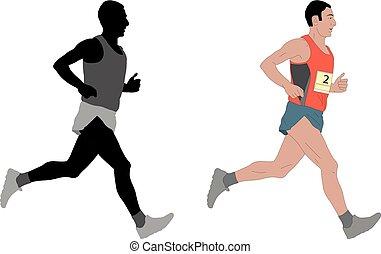 marathon runner, detailed illustration