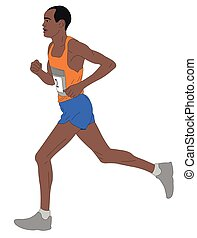 marathon runner, detailed illustration - vector