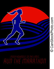 Marathon Runner Female Pushing Limits Poster