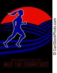 Marathon Runner Female Pushing Limits Poster