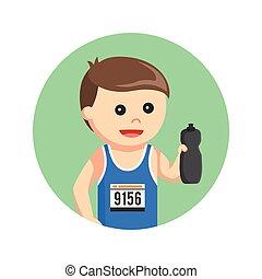 marathon runner holding water bottle in circle background