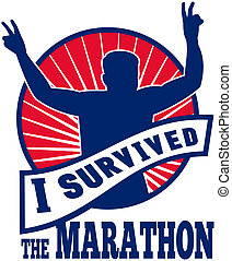 """illustration of a silhouette of Marathon runner flashing victory hand sign done in retro style with sunburst set inside circle with words """"i survived the marathon"""""""