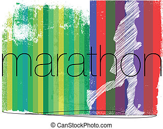 Marathon runner in abstract background. Vector illustration