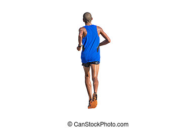 Marathon runner on white - Rear view of marathon runner...