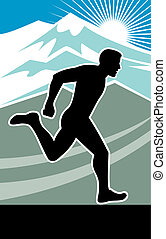 Marathon runner silhouette - illustration of a Marathon...