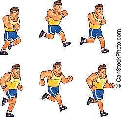 Marathon Runner Sprite - Vector Illustration of Retro...