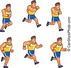 Marathon Runner Sprite - Vector Illustration of Retro...