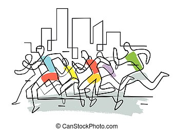 Marathon runners in a city,Jogging.