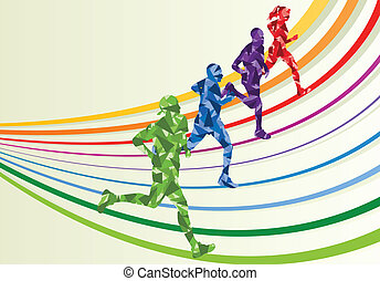 Marathon runners in colorful rainbow landscape background