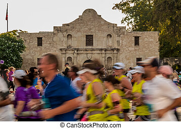 Marathon Runners in Front of the Alamo