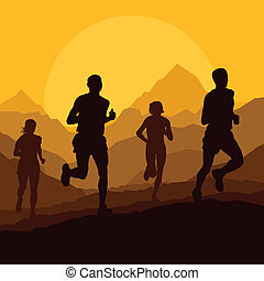 Marathon runners in wild nature mountain landscape background