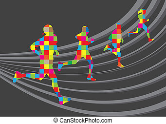 Marathon runners landscape background