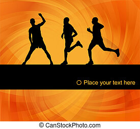 Marathon runners people silhouettes background vector