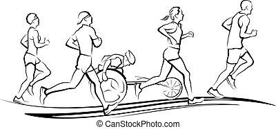 Marathon Runners - Runners in a marathon. Three men & two...