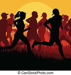 Marathon runners running silhouettes vector background
