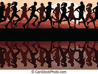 Marathon runners running silhouettes vector background -...