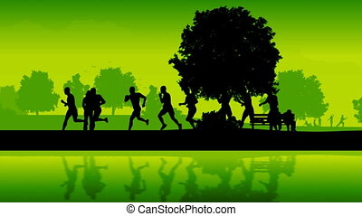 Marathon runners. Silhouettes of running people.