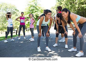 Marathon runners taking a break